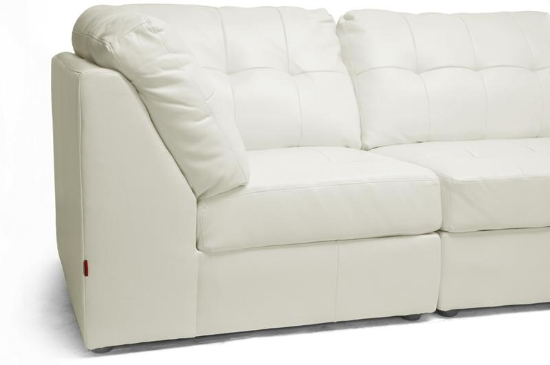 NEW OFF-WHITE OR BROWN MODERN LEATHER MODULAR SECTIONAL ...