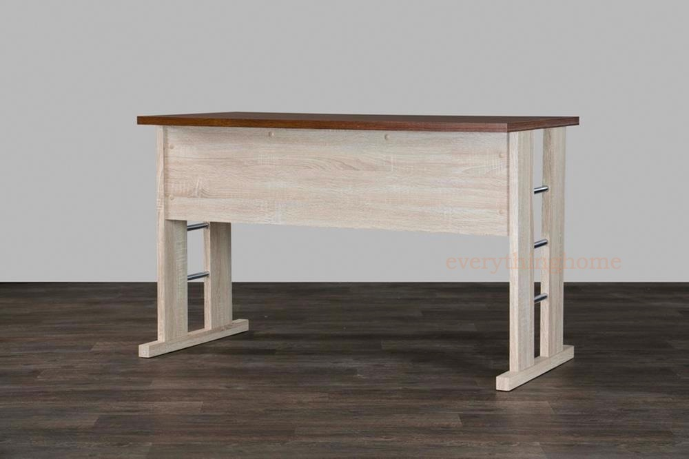 Modern Wooden Writing Desk Engineered Wood Construction Sonoma Oak Polyurethane Veneer Handsome Two Tone Finish Adding Contemporary Appeal